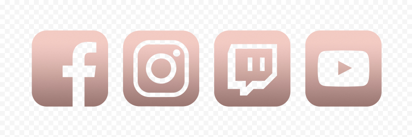 HD Rose Gold Aesthetic Facebook Instagram Twitch Youtube Icons PNG