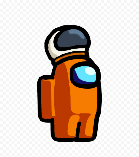 HD Among Us Crewmate Orange Character With Astronaut Helmet PNG