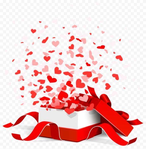 HD Valentines Day Opened Gift Box Floating Hearts PNG
