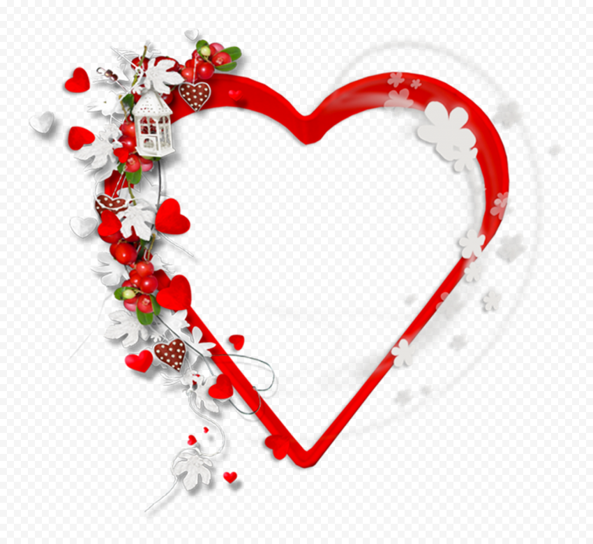 HD Beautiful Valentine Heart With Flowers PNG