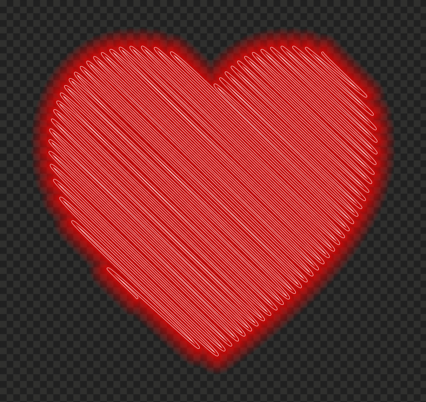 HD Glowing Scribble Red Neon Valentine Day Love Heart PNG