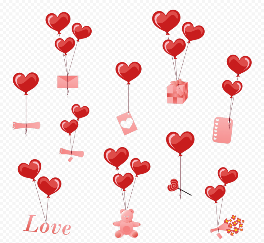 HD Valentines Items Pattern Background PNG