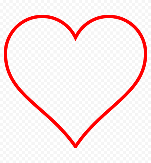 HD Red Outline Heart Love Valentine PNG