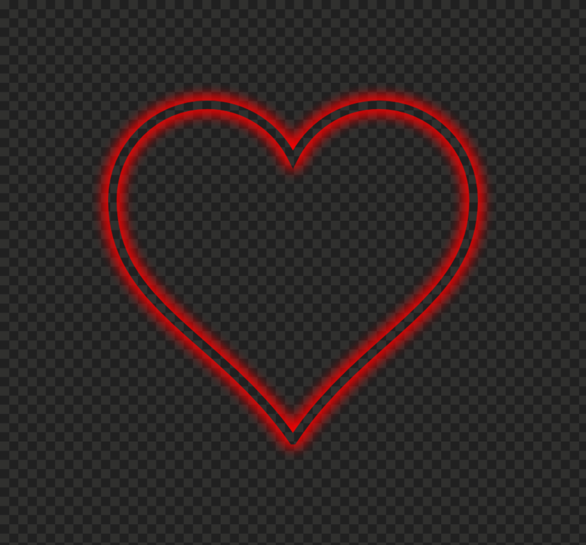 HD Red Beautiful Neon Outline Heart Love Valentine PNG