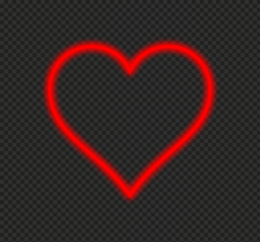 HD Red Beautiful Neon Heart Love Valentine PNG