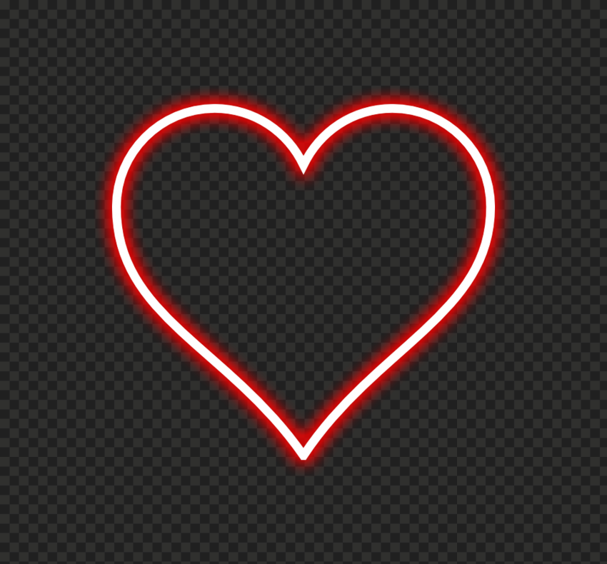 HD Red Aesthetic Neon Heart Love Valentine PNG