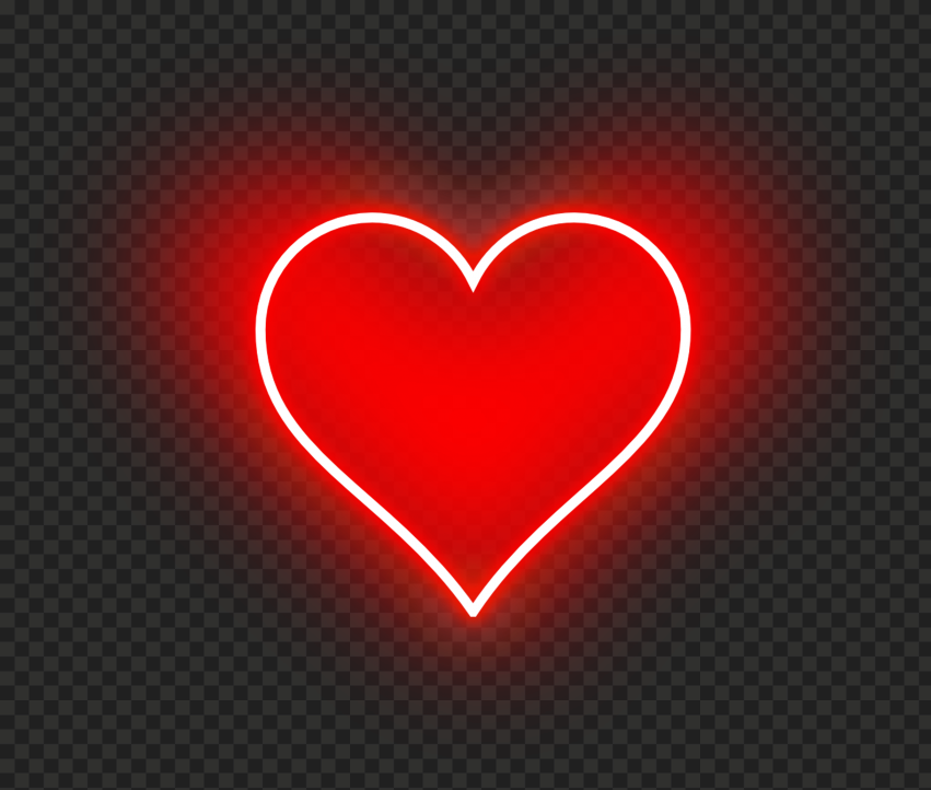 HD Aesthetic Neon Red Heart Love Valentine PNG