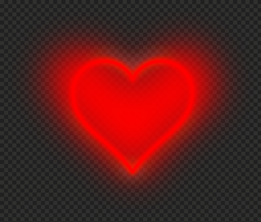 HD Aesthetic Neon Red Heart Love Valentine Day PNG