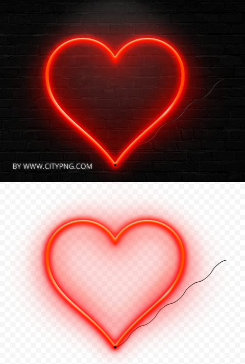 HD Aesthetic Realistic Neon Red Heart Love Valentine Day PNG