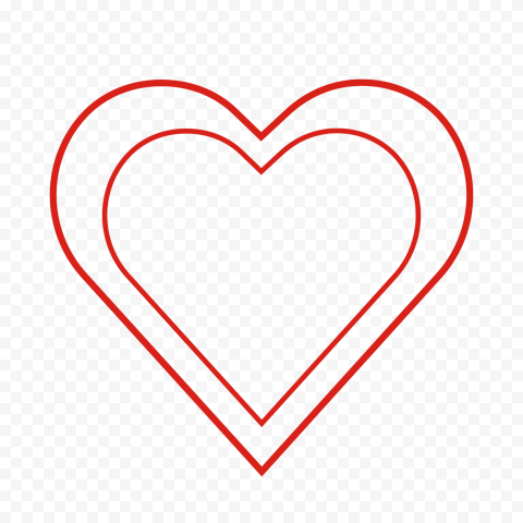 HD Double Red Outline Hearts Love Romance Valentine PNG