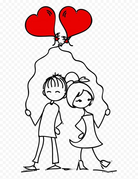 HD Romantic Lovely Cartoon Sketch Couple Valentine Day PNG