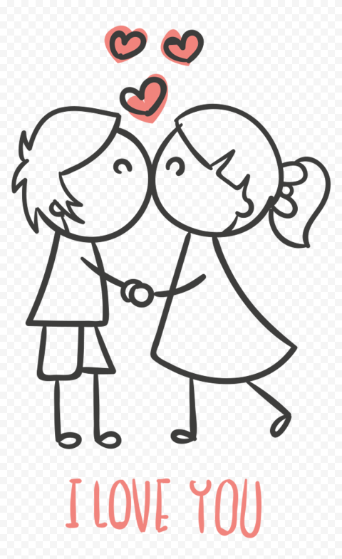 HD Lovely Sketch Cartoon Couple Saying I Love You Valentine PNG