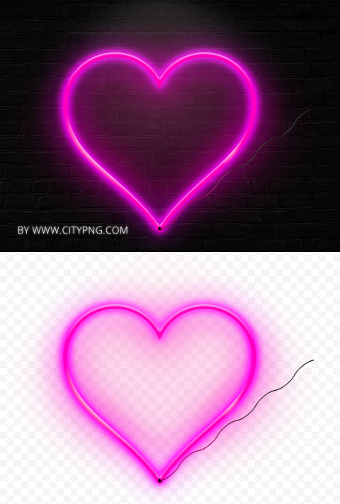HD Aesthetic Realistic Neon Pink Heart Love Valentine Day PNG
