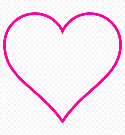 HD Pink Outline Heart Love Valentine PNG