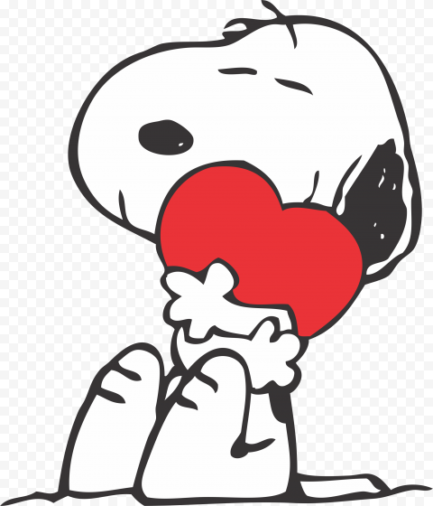 HD Snoopy Dog In Love Hold Red Heart Valentines Day PNG