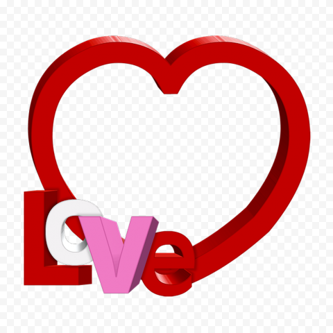 HD Red Outline 3D Heart With Love Word PNG