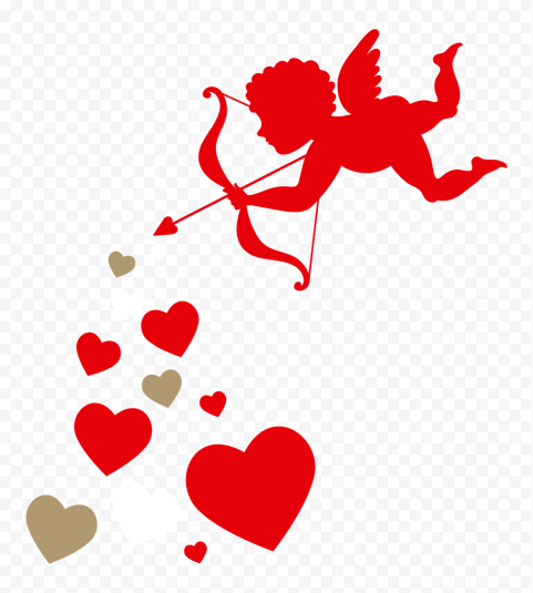 HD Flying Cupid Angel With Group Of Hearts Valentine Day Love PNG