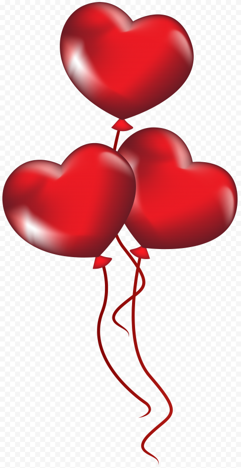 HD Three Red Hearts Balloons Flying Valentines Day PNG