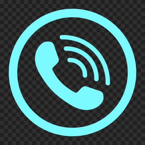HD Aqua Blue Round Circle Phone Icon PNG