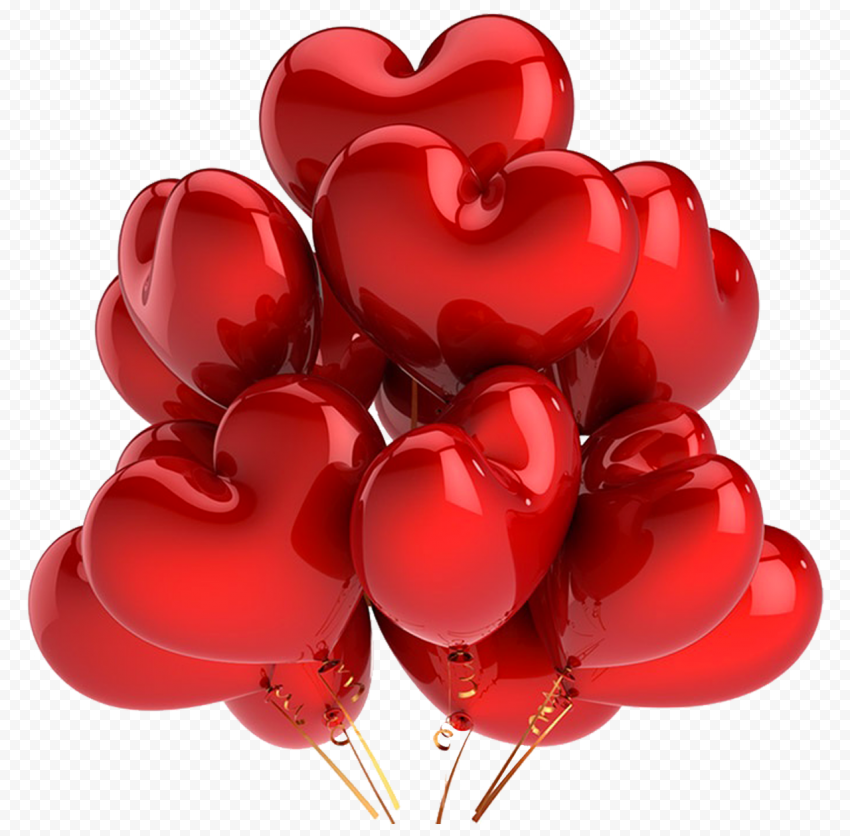 HD Realistic Red Balloons Hearts Valentine Love PNG