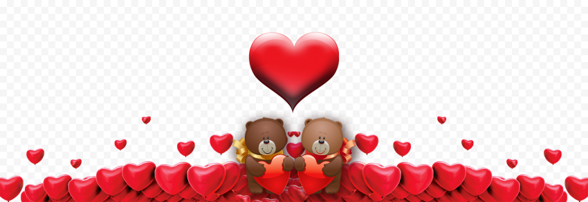 HD Two Bears Holding Red Hearts Valentine Day Love PNG