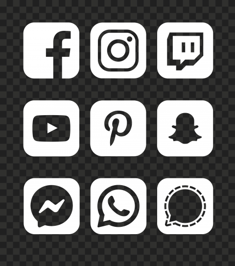 HD White Social Media Square Icons PNG