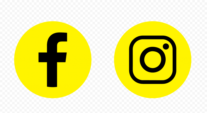 HD Facebook Instagram Yellow & Black Round Icons PNG