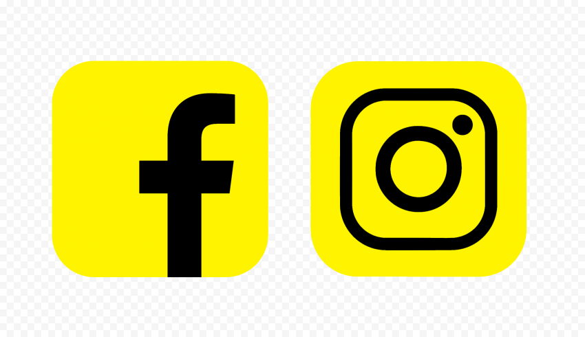 HD Facebook Instagram Yellow & Black Square Logos Icons PNG
