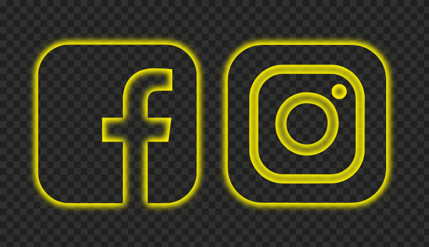 HD Facebook Instagram Yellow Neon Square Logos Icons PNG
