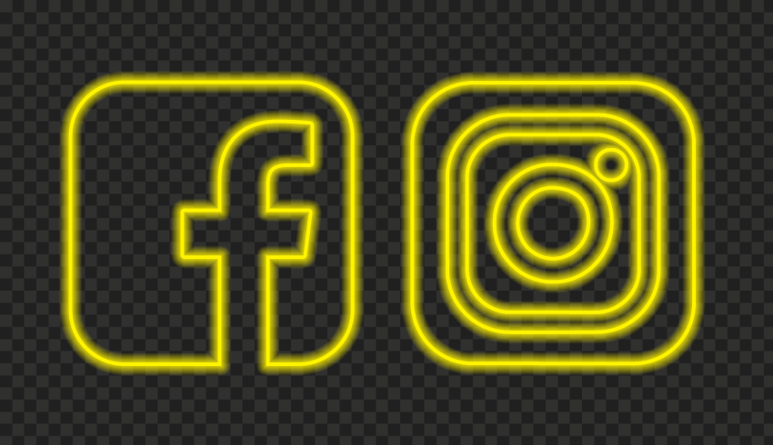 HD Yellow Neon Facebook Instagram Square Logos Icons PNG