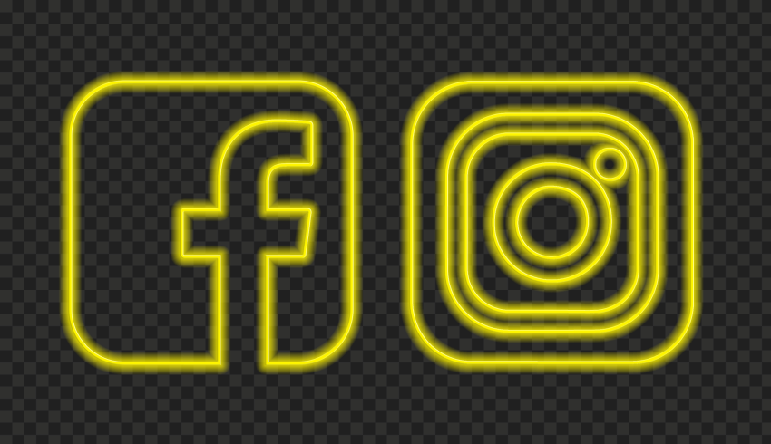 HD Yellow Neon Facebook Instagram Square Icons PNG