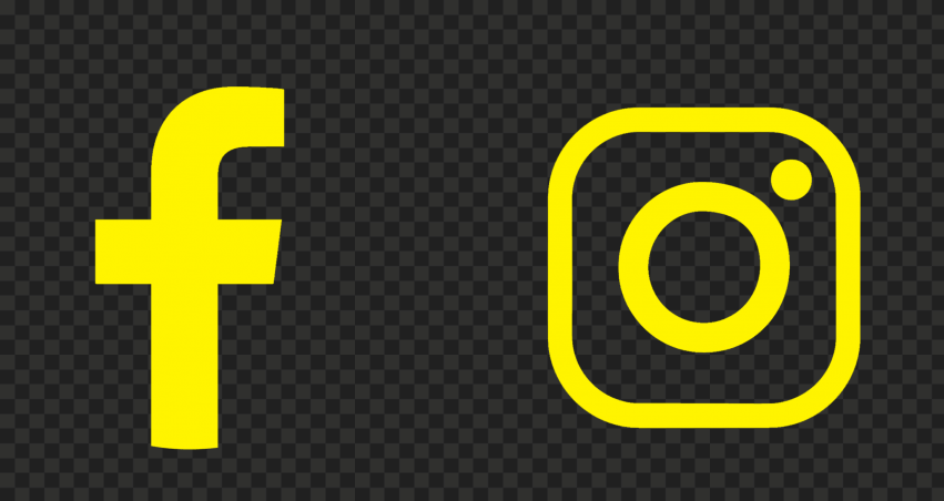 HD Facebook Instagram Yellow Logos Icons PNG