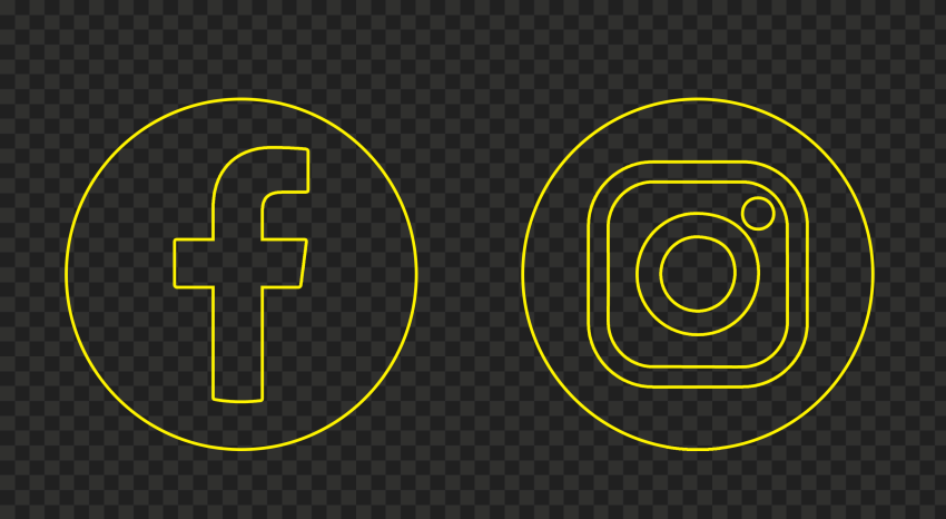 HD Facebook Instagram Yellow Outline Circle Logos Icons PNG