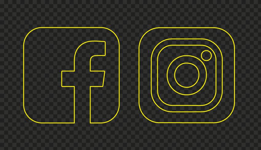 HD Facebook Instagram Yellow Outline Square Icons PNG