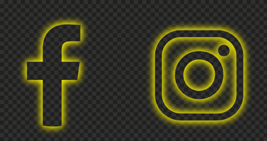 HD Facebook Instagram Yellow Neon Logos Icons PNG