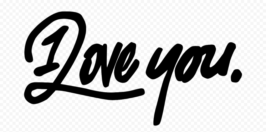 HD Black I Love You Text PNG