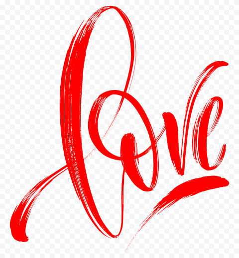 HD Love Word Red Text Hand Lettering PNG