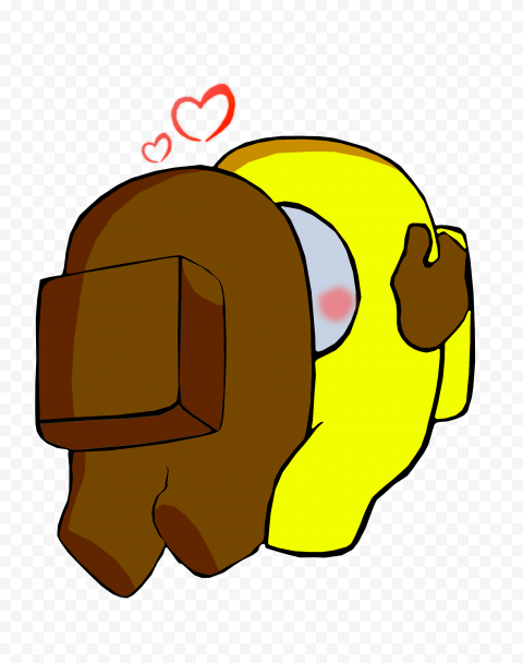 HD Valentine Love Brown Kiss Yellow Among Us Characters PNG