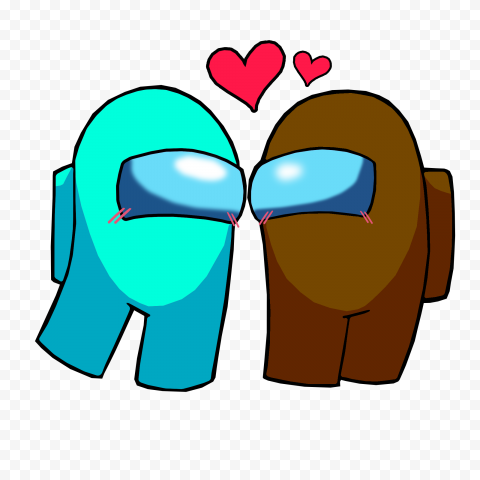 HD Among Us Cyan Love Brown Characters Valentines Day PNG