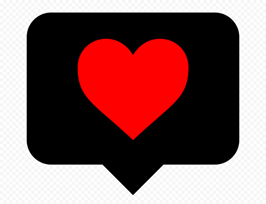 HD Black & Red Heart Icon Instagram Like Notification PNG