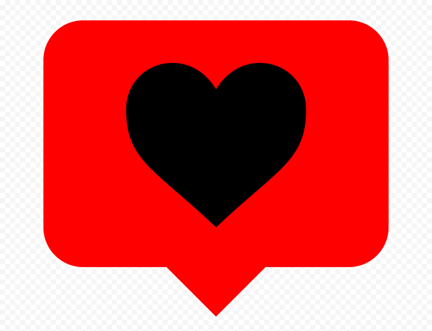 HD Red & Black Heart Icon Instagram Like Notification PNG