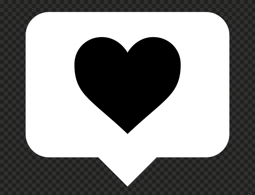HD White & Black Instagram Like Notification Heart Icon PNG