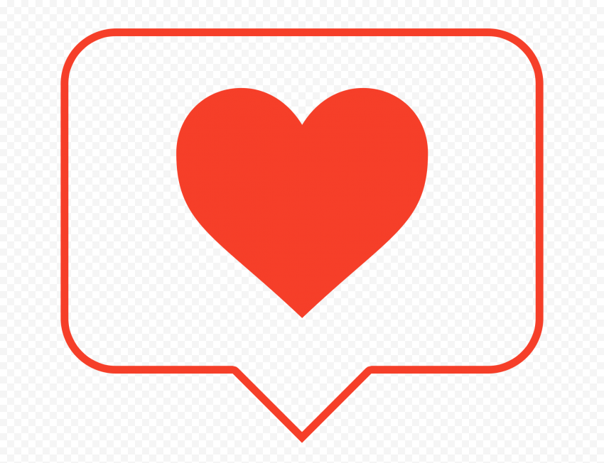 HD Red Outline Heart Icon Notification Instagram PNG