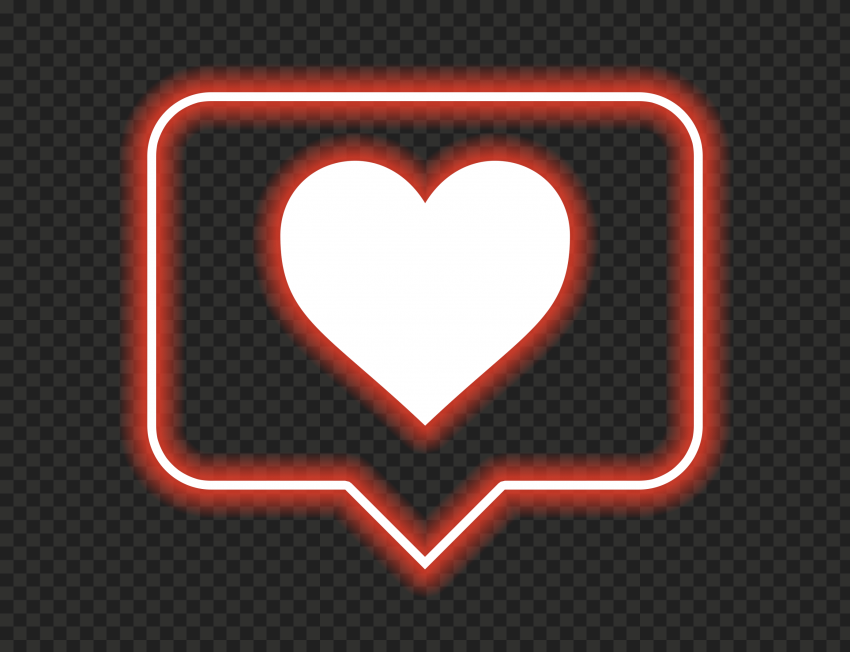 HD Red Neon Glowing Heart Icon Notification Instagram PNG
