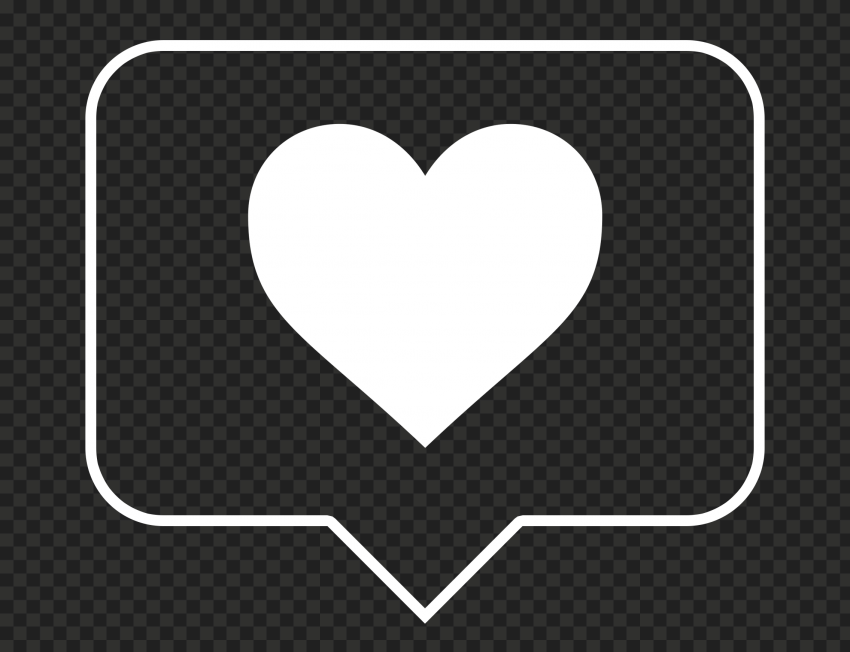 HD White Outline Heart Icon Notification Instagram PNG