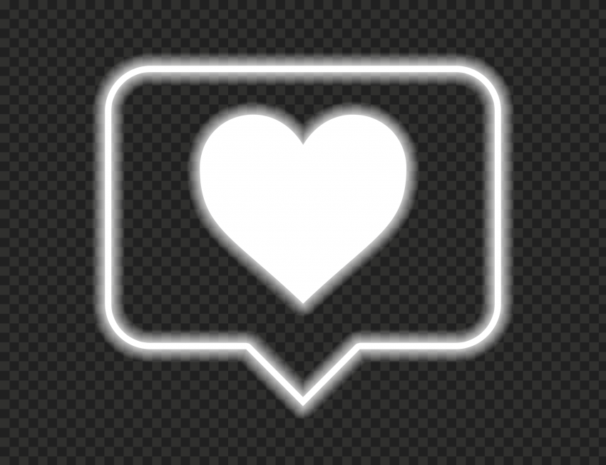 HD Neon Glowing White Heart Icon Notification Instagram PNG
