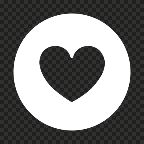 HD White Round Circle Outline Heart Icon PNG
