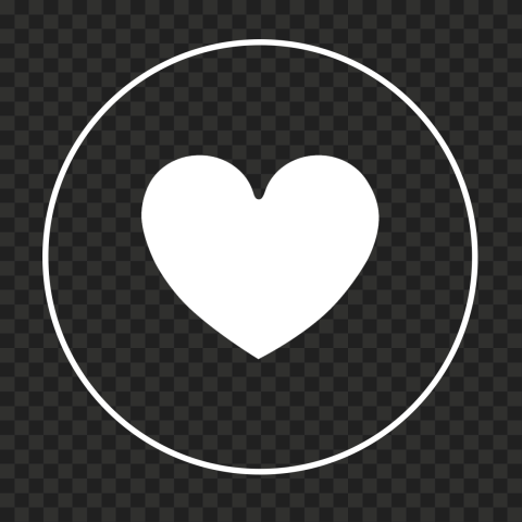 HD White Heart Icon Inside White Round Circle Line PNG