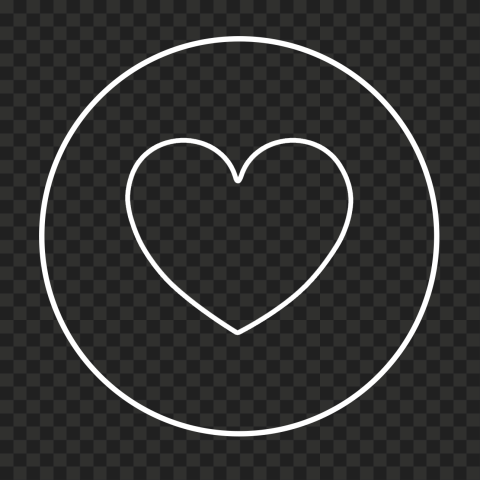 HD White Outline Heart Round Circular Icon PNG