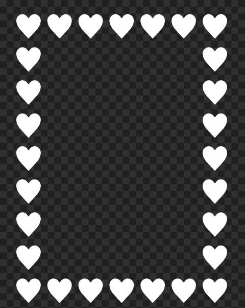HD White Hearts Emoji Vertical Frame PNG